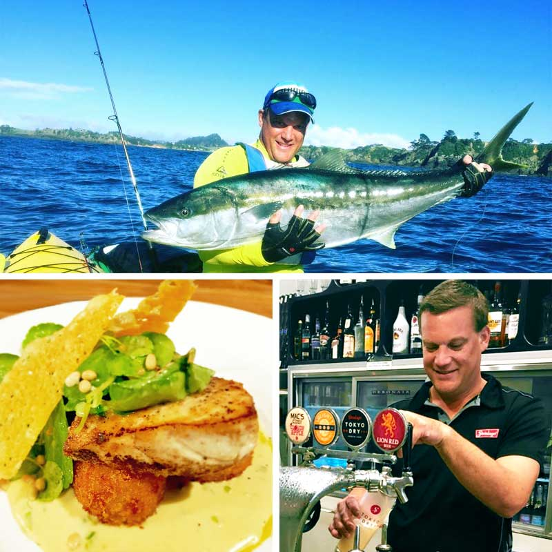 Dan in kayak with kingfish. Fish of the day dish. Dan pouring a beer