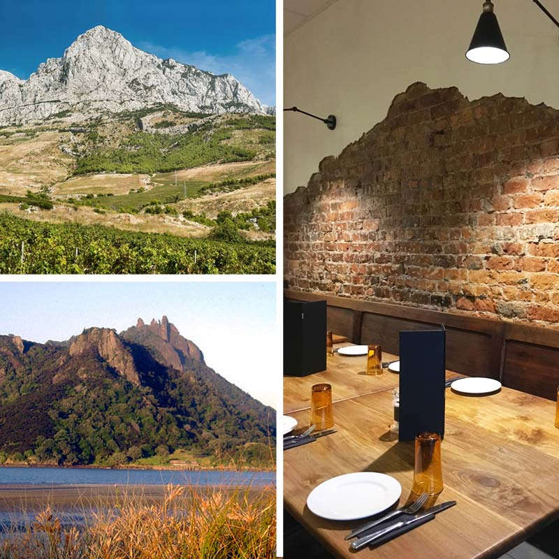 Croatian hills. Whangarei Heads landscape. Interior of Split Restaurant